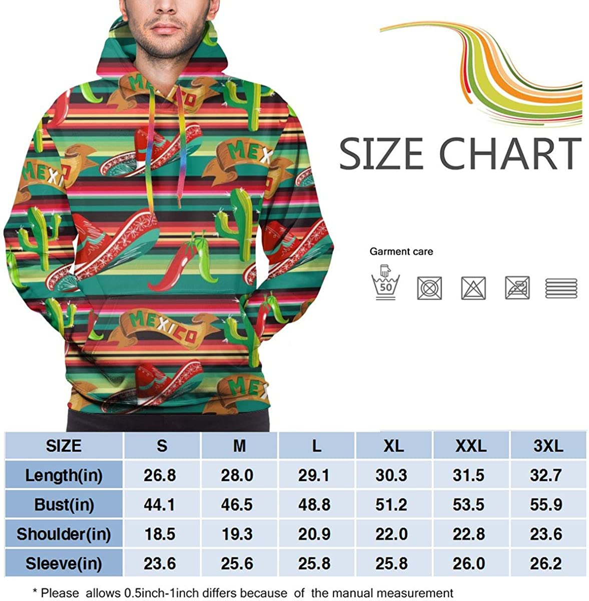 Mens Autumn Winter Long Sleeve Hoodies Mexico Figure Hooded Pockets Sweatshirt Tracksuits