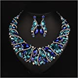 Hamer Bridal Costume jewelry Crystal Choker Pendant Bib Statement Charm Necklace and Earrings Sets