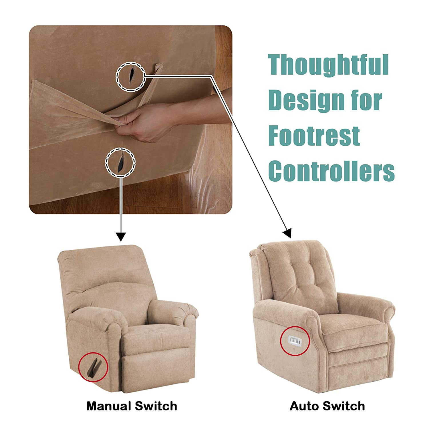 Recliner, Brown Furniture Cover Form Fit Stretch Stylish Recliner Cover//Protector Turquoize Recliner Chair Cover Luxury Stretch Sofa Cover 1-Piece Recliner Covers for Large Recliner