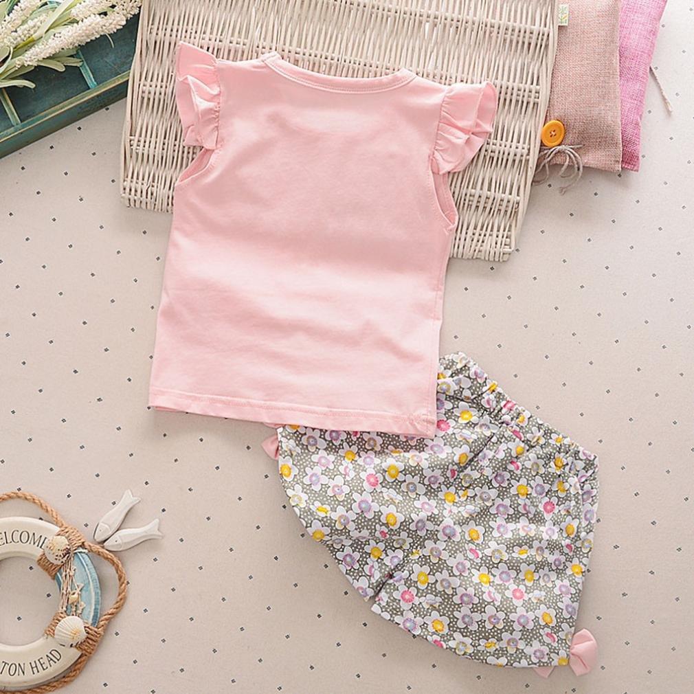 Fossen Bebe Ni/ña Camiseta Sin Mangas de Lollipops y Pantalones Cortos Florales Conjunto de Ropa Verano