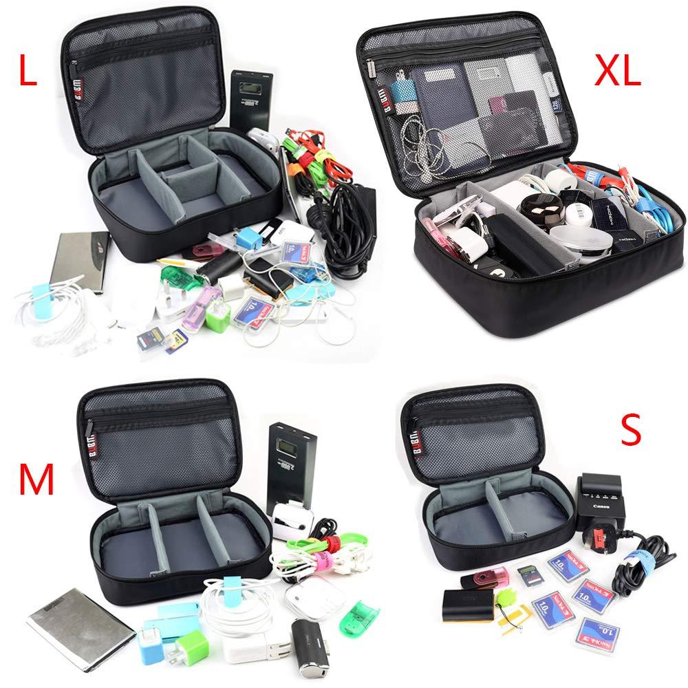 BUBM 4pcs/Set Travel Electronic Organizer Gadgets Electronics Accessories Storage Bag for Memory Card USB Battery Power Bank Flash Hard Drive Safe Space Cord Organizer(Black) by BUBM (Image #3)