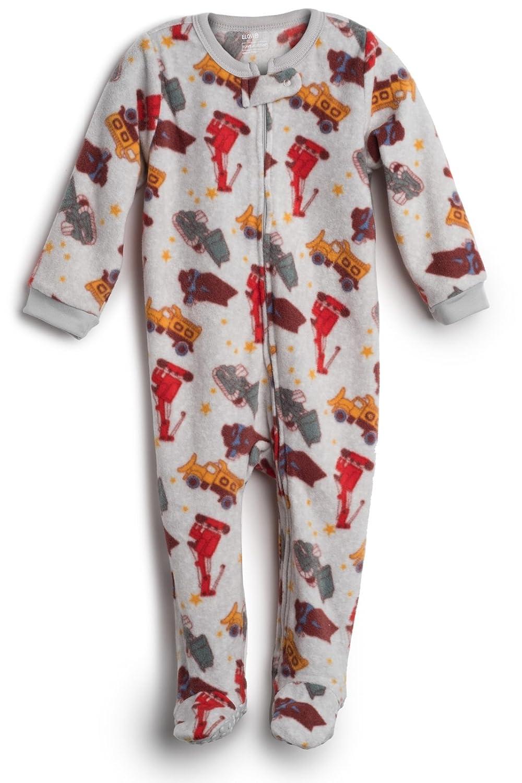 Elowel Baby Boys Footed Sand Truck Pajama Sleeper Fleece (Size 6M-5Years) fl-sandtrck4
