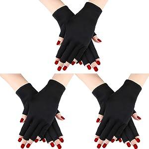 3 Pairs UV Shield Glove Gel Manicures Glove Anti UV Fingerless Gloves Protect Hands from UV Light Lamp Manicure Dryer (Black)