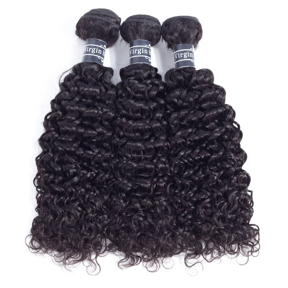 Amella Hair 10A Brazilian Virgin Curly Hair Weave 3 Bundles with Lace Closure Free Part 4x4 100% Unprocessed Brazilian Kinky Curly Hair Weave Bundles Natural Color(16 18 20+14inch) by Amella (Image #3)