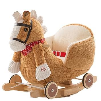 Caballito Balancin Baby Rocking Horse Wooden Toy 2 En 1 Peluche Con Ruedas Para Niños Rocker