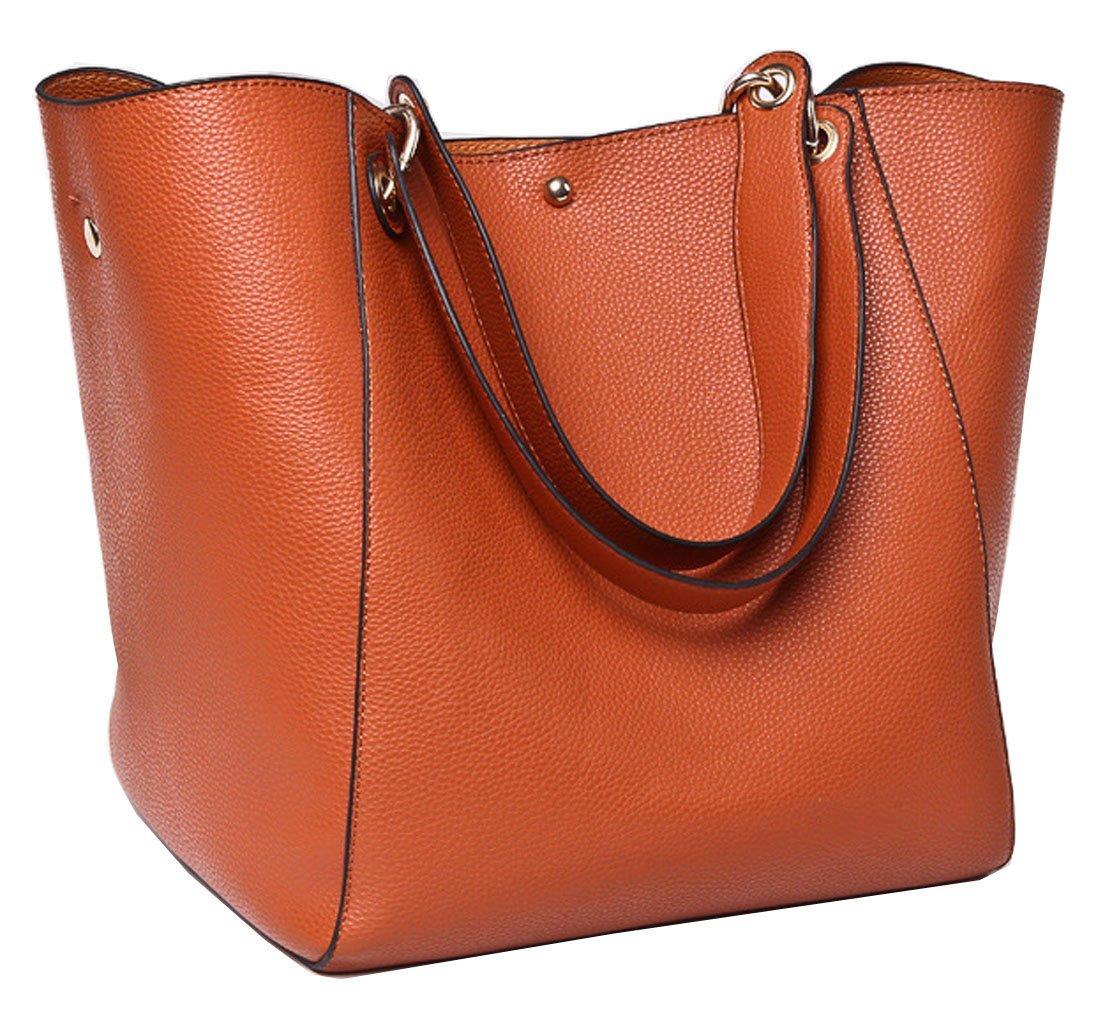 Tibes Fashion Waterproof Shoulder Bag Synthetic Leather Handbag Women Girls Large Tote Purse 111shoutibao26-heise