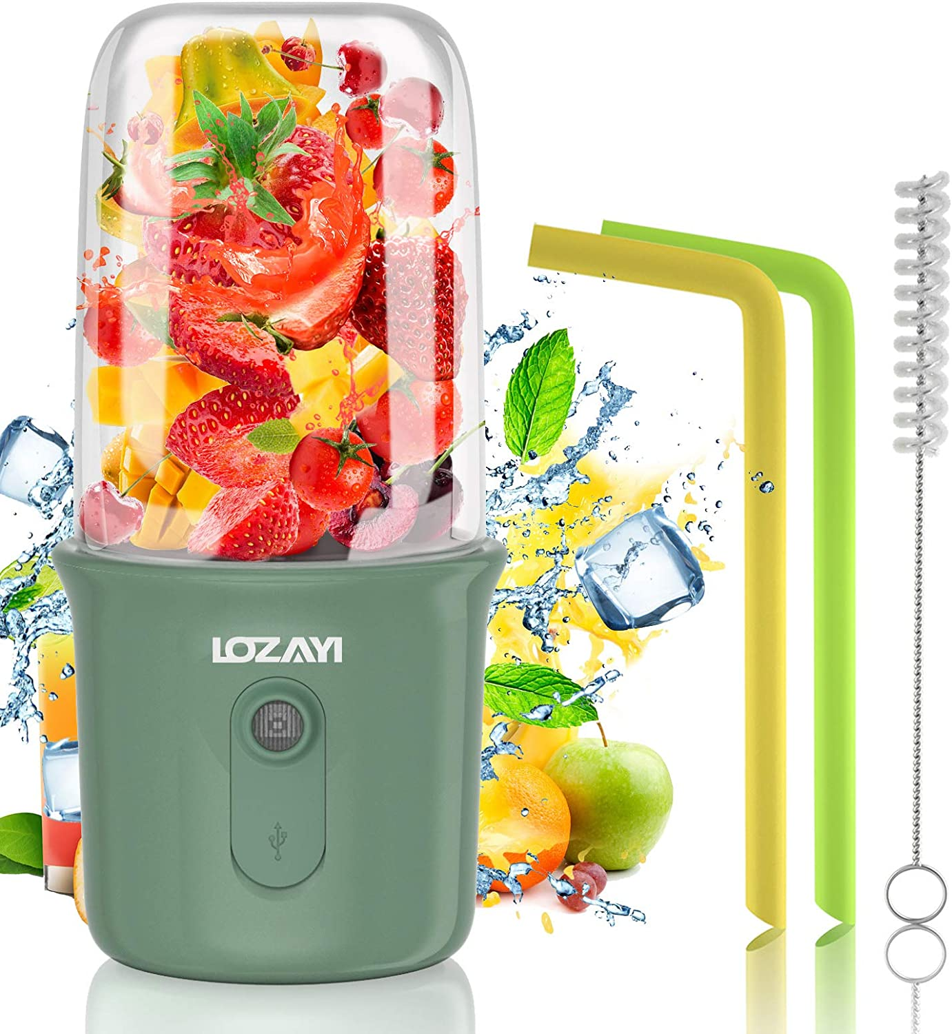 Portable Blender, LOZAYI Personal Mixer for Smoothie, USB Rechargeable for Home, Sports, Office, Outdoors,Travel Juicer Mixer Cup with Two Blades for Juice Shakes with 250ML/8.4OZ. Thickened Cup