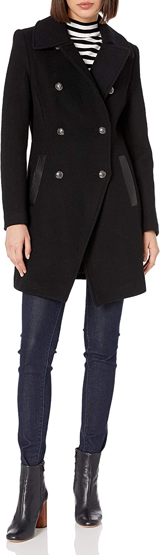 8 Trina Turk Womens Olivia Wool Double Breasted Coat Black