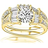 1.2 Cttw 14K Yellow Gold Round Cut Baguette And Round Brilliant Diamond Engagement Ring and Wedding Band Set with a 0.37 Carat I-J Color I2 Clarity Center