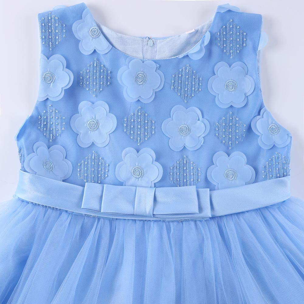 KONFA Teen Baby Girls Wedding Party Floral Lace Dress 1-9 Years,Little Princess Sleeveless Formal Performance Skirt Set