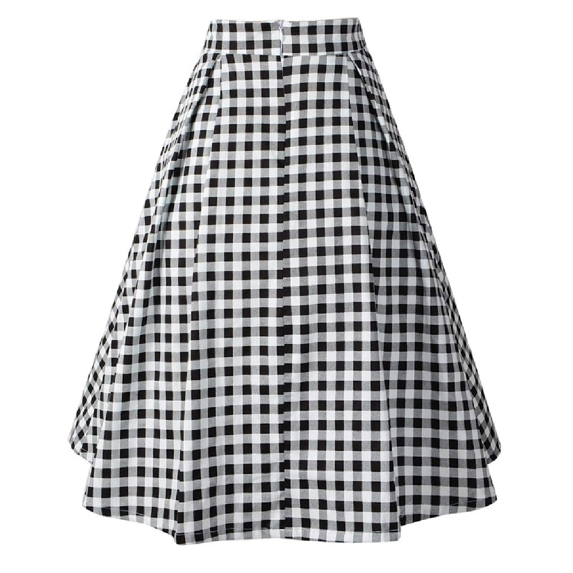 b12c7711a612db WQ&EnergyWomen Womens Pleated Plaid Classic Vintage High Rise Skirt Black  XS: Amazon.in: Clothing & Accessories