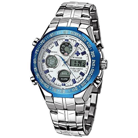 WWOOR Herren LED digital-analog Stoppuhr Datum und Woche Army Military Armbanduhr Blau