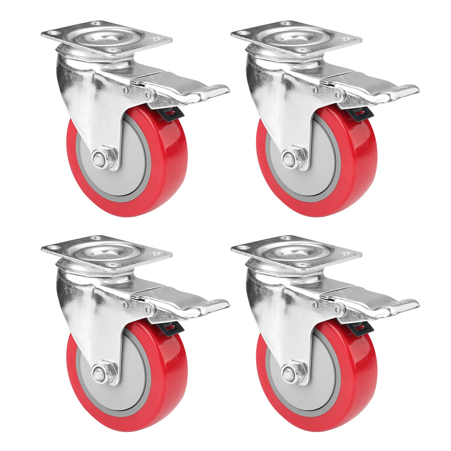4'' Swivel Plate Caster Wheels, PRITEK Heavy Duty Metal Caster Wheels Lock the Top Plate and the Wheels Replacement for Industrial Trailer or Large Home Furniture (bearing 250lbs each, set of 4)