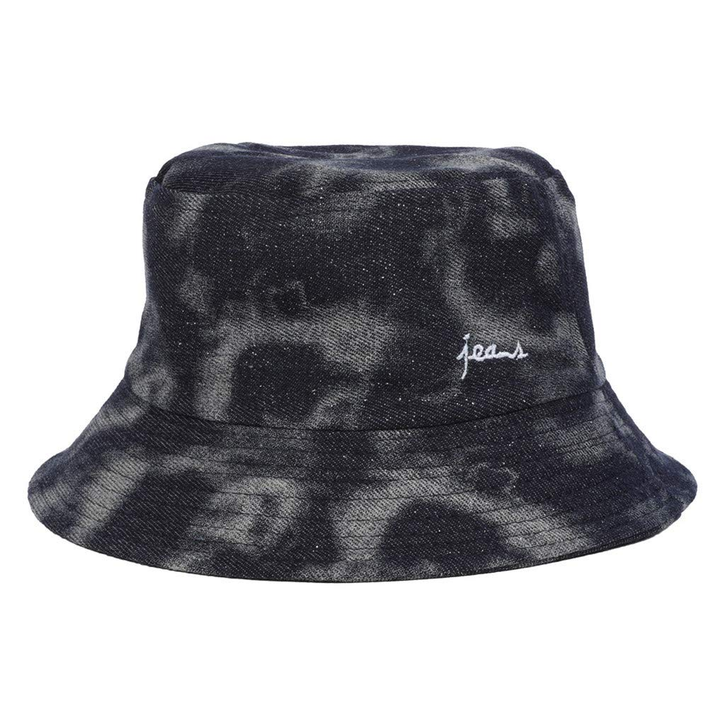 5876a3cd9f6eee Unisex Cotton Bucket Hat Camo Embroidered Stained Sunhat Wash Distressed Boonie  Hat Packable Summer Travel Cap (Black) at Amazon Women's Clothing store: