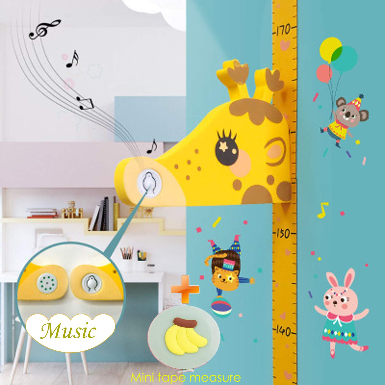 HELIWOO Children Height Growth Chart Ruler for Kids Room Decor,3D Movable Giraffe Height Ruler with Music Nursery Wall Decals