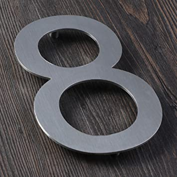 Mellewell floating house numbers 5 inch stainless steel outdoor numerals brushed nickel number 8 eight