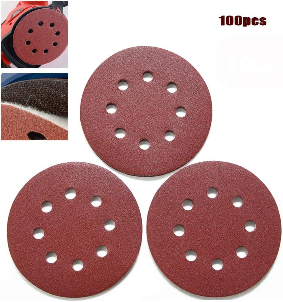 100pcs SOFIALXC Papier Abrasif Velcro 125mm 8 Trous Ponceuse Orbitale Disques Abrasifs pour Ponceuse Excentrique Grain-80#