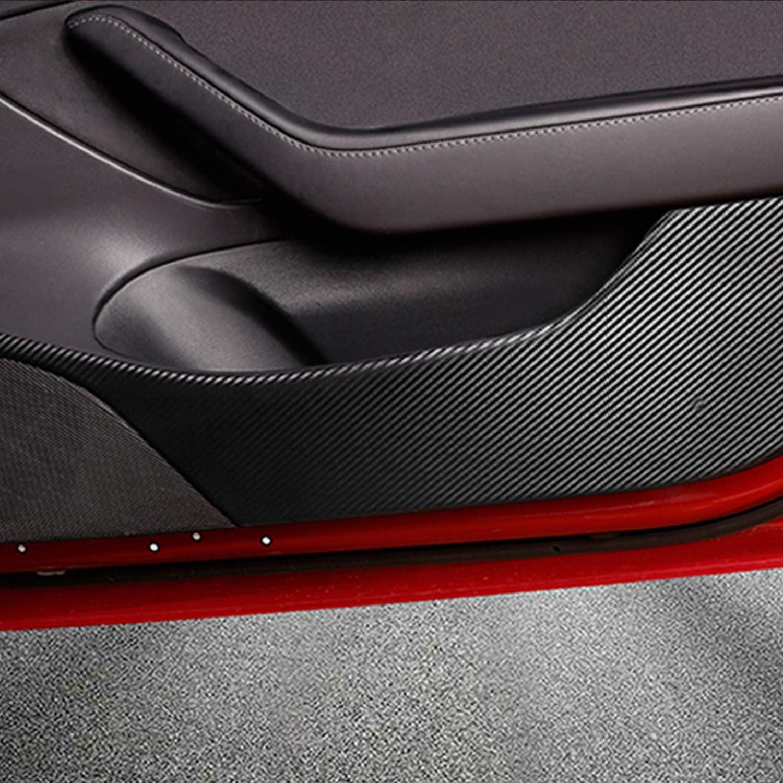VXDAS Lot de 4 autocollants de protection anti-coups de pied en fibre de carbone pour T-esla Mod/èle 3 2018-2019