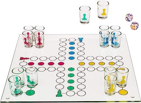 DRINKINGLUDO - Juego de mesa de beber chupitos Parchís Ludo, 31 x31cm: Amazon.es: Hogar