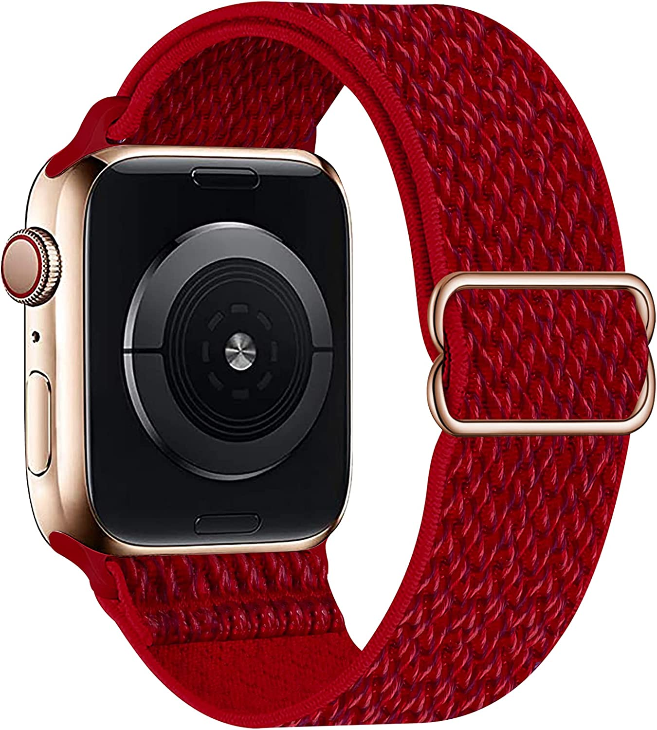 OHCBOOGIE Stretchy Solo Loop Strap Compatible with Apple Watch Bands 38mm 40mm 42mm 44mm ,Adjustable Stretch Braided Sport Elastics Weave Nylon Women Men Wristband Compatible with iWatch Series 6/5/4/3/2/1 SE