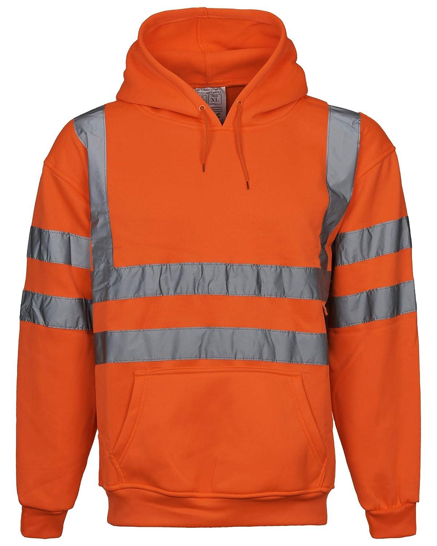 Overdose/® Hi Viz Executive Sweatshirt High Visibility Work Hooded Mens Hoody Tape Safety Security Work Wear Ladies Vis Safety Top