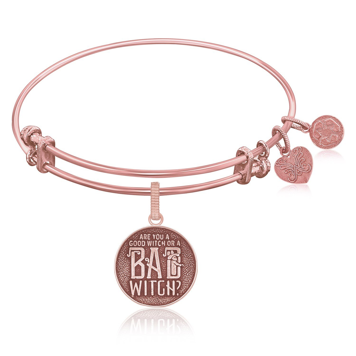 Expandable Bangle in Pink Tone Brass with Good Witch Bad