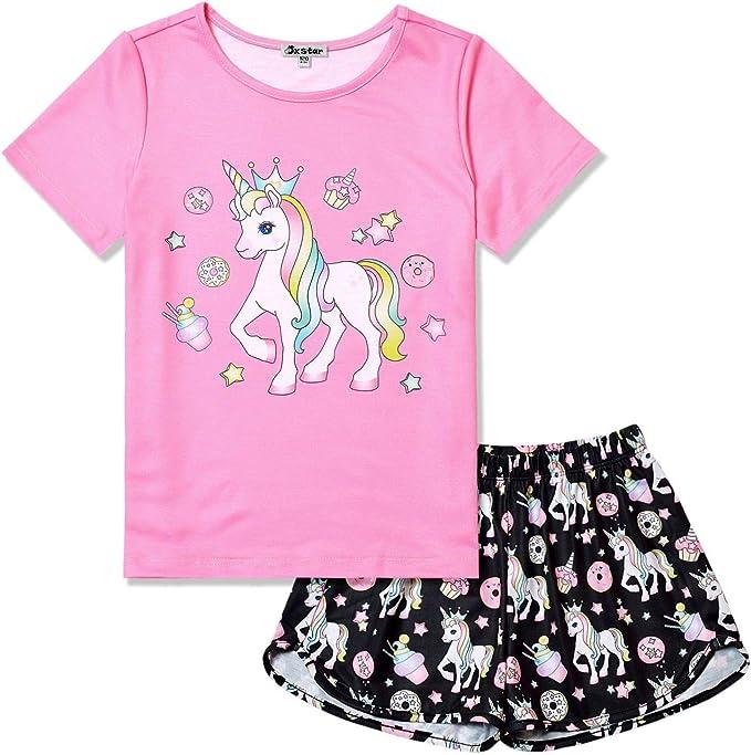 Amazon.com: Pajamas for Girls Unicorn Face Pjs Sets Short Sleeve ...