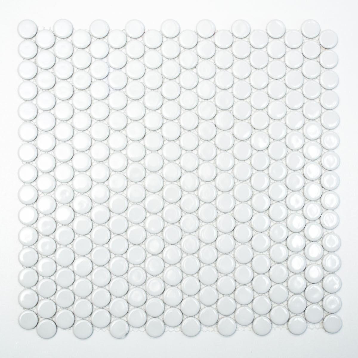 Mosaik Fliese Keramik Knopf wei/ß gl/änzend f/ür BODEN WAND BAD WC DUSCHE K/ÜCHE FLIESENSPIEGEL THEKENVERKLEIDUNG BADEWANNENVERKLEIDUNG Mosaikmatte Mosaikplatte