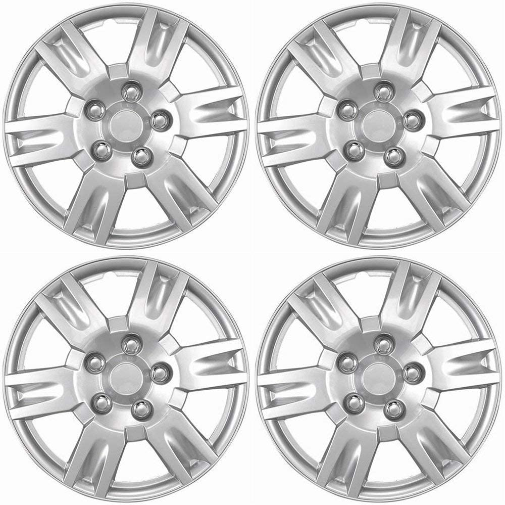 Set of 4 16 inch Hubcaps Best for 2013-2017 Nissan Altima Wheel Covers 16in Hub Caps Silver Rim Cover - Car Accessories for 16 inch Wheels - Snap On Hubcap, Auto Tire Replacement Exterior Cap