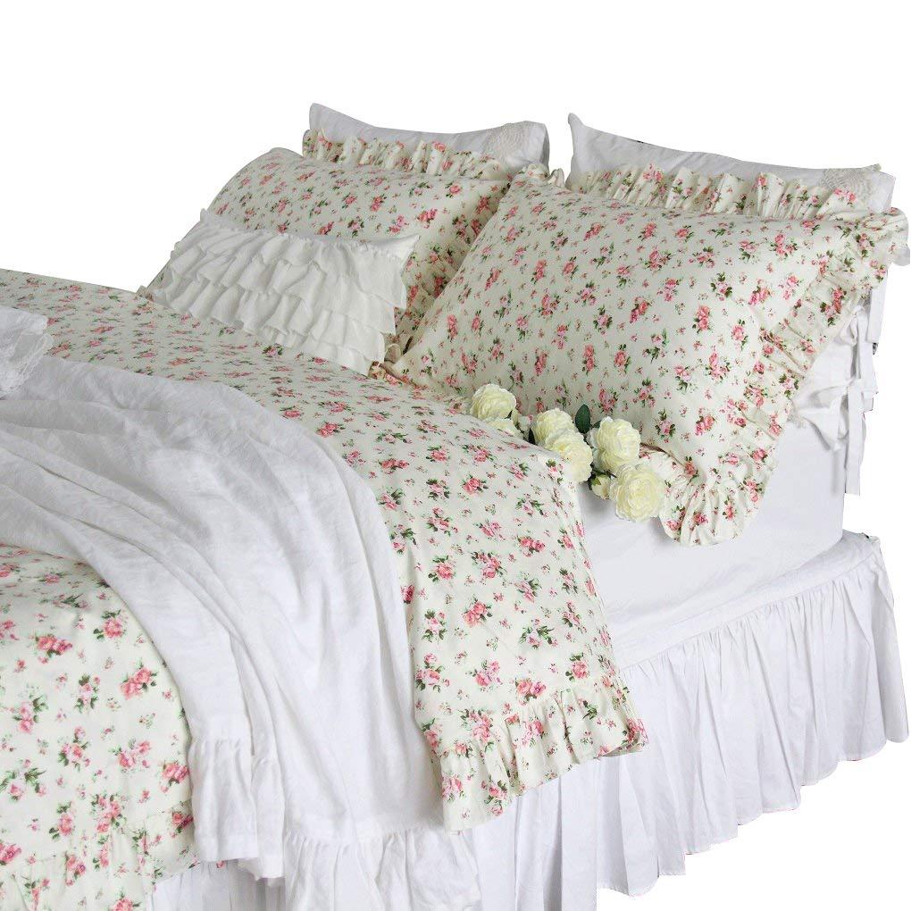 Queen's House Cotton Ruffled Quit Duvet Cover Rose Print Girls Bedding Set-Queen Queen's House
