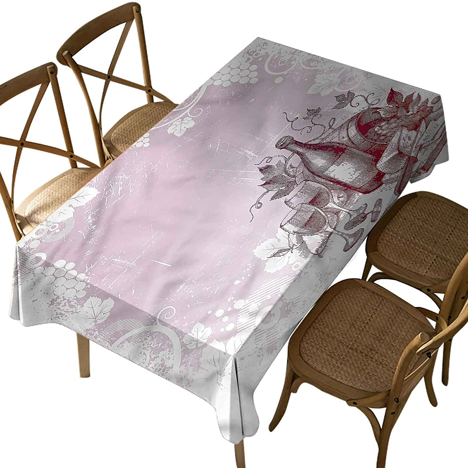 Iuvolux Wedding Rectangular Tablecloth,Wine,Grunge Abstract Framework,Wrinkle Free Anti-Fading Table Cover,for Kitchen Dining, Party, Holiday,Buffet Oblong 60 x 120 Inch