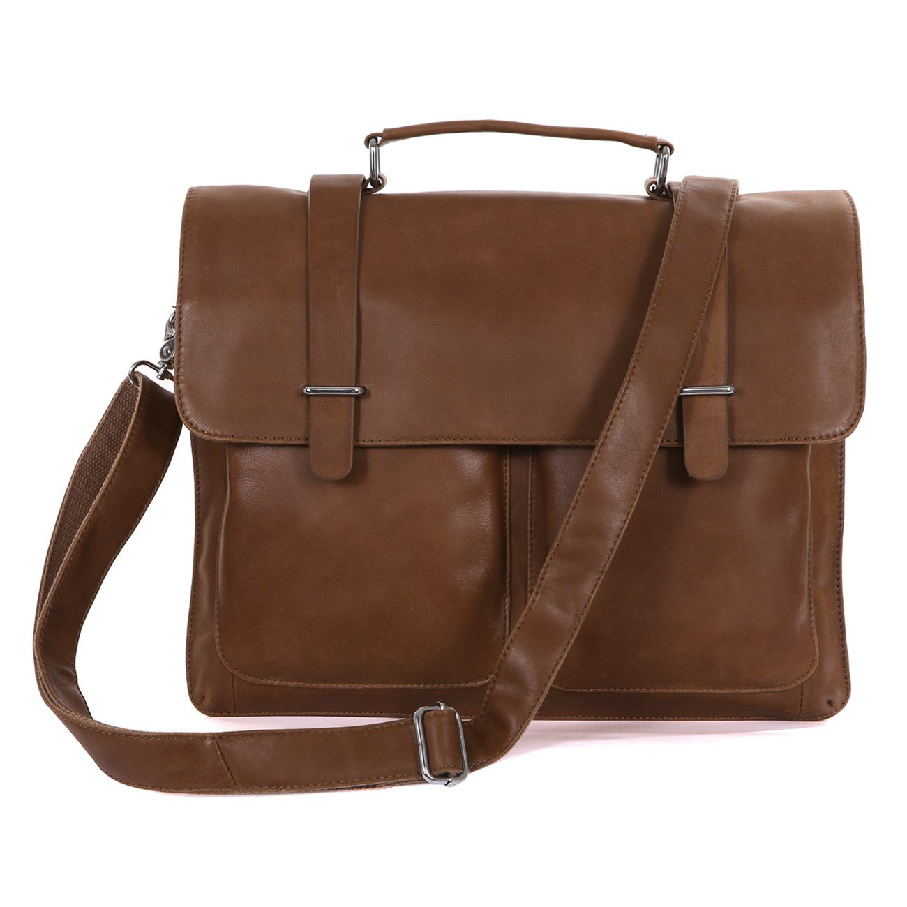 Genda 2Archer Real Leather Briefcase Laptop Tote Document Messenger Business Bags (Light Brown) by Genda 2Archer
