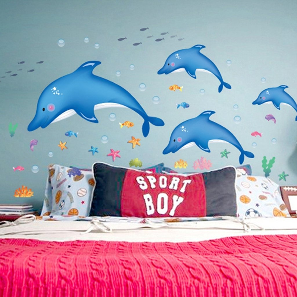 Amazon hldiy blue dolphin fish bathroom wall stickers kids amazon hldiy blue dolphin fish bathroom wall stickers kids nursery room decor sea ocean home kitchen amipublicfo Image collections