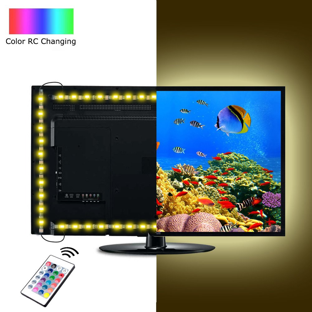 ACRATO Bias Lighting for 40\'\'-60\'\' TV USB Powered Neon Accent LED Backlight Strip RGB Dimmable for TV Screen PC Monitor with 24keys RF Remote Control Kit de 4 Strips