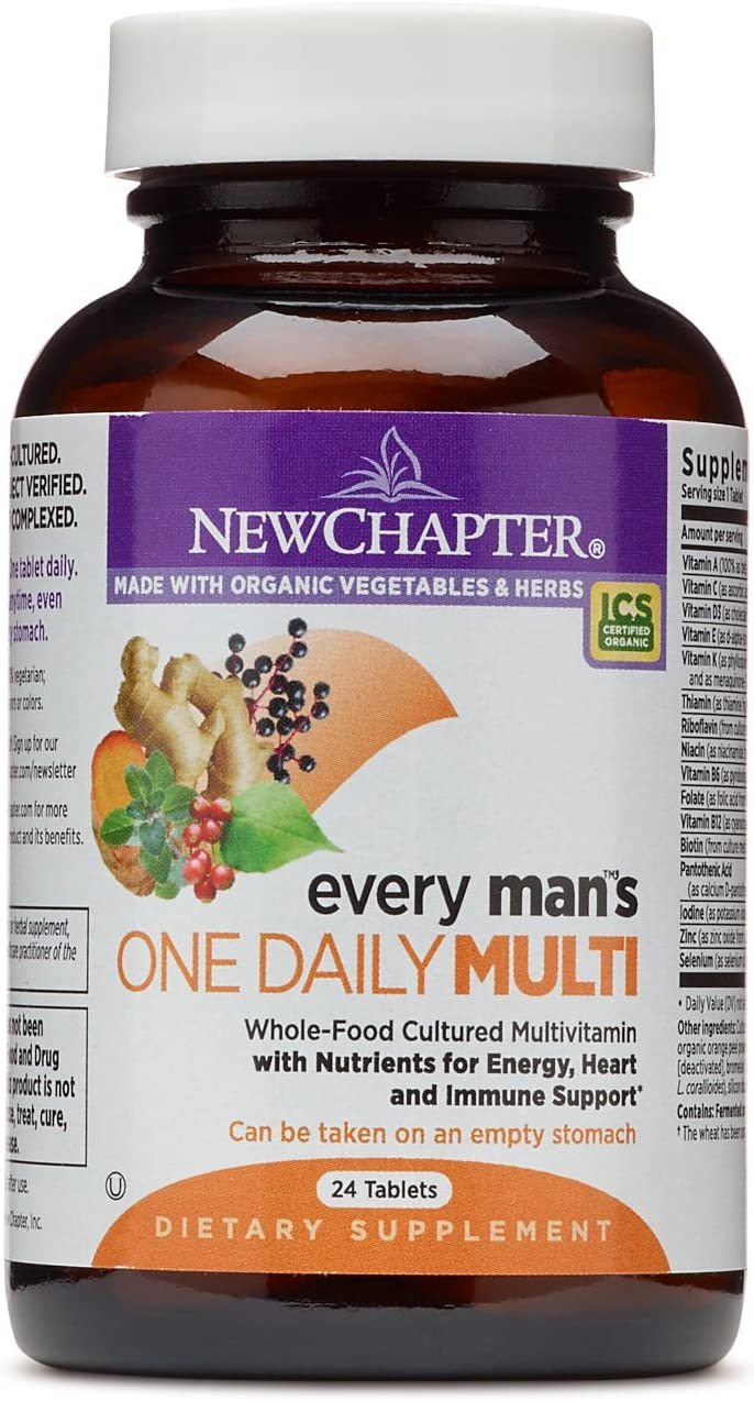 New Chapter Men's Multivitamin, Every Man's One Daily, Fermented with Probiotics + Selenium + B Vitamins + Vitamin D3 + Organic Non-GMO Ingredients - 24 Count (Pack of 1) (Packaging May Vary)