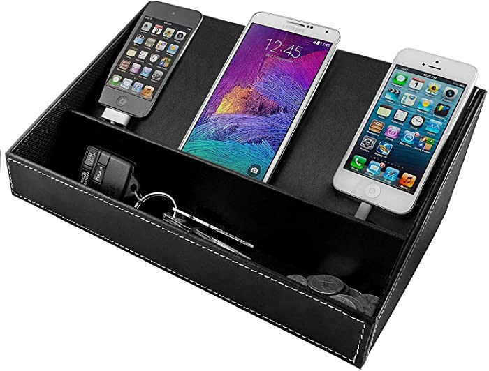 Charging Station for Multiple Devices, Desk Docking Station Organizer for Cell Phone, Tablet - Phone Organizer Station for iPhone, Samsung Galaxy, Google Pixel (Black)