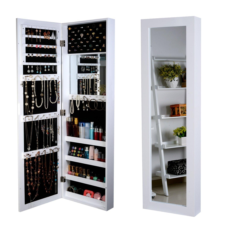 Organizedlife White Wall Mount Mirrored Jewelry Armoire Storage Wood