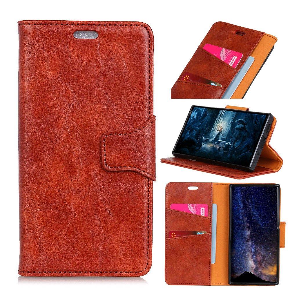 TOTOOSE Samsung Galaxy A6 Plus 2018 Case, [Portable Wallet ] [ Slim Fit ] Heavy Duty Protective Skin Flip Cover Wallet Case for Samsung Galaxy A6 Plus 2018 - Brown