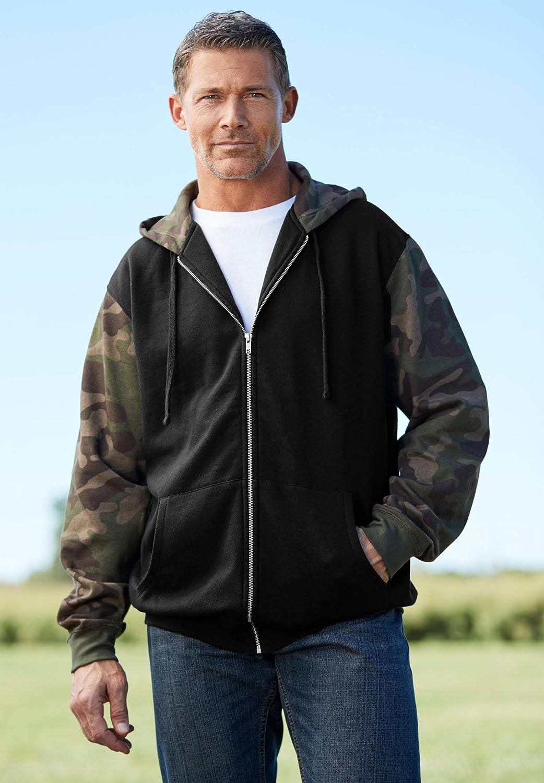 KingSize Mens Big /& Tall Fleece Zip-Front Hoodie Fleece Jacket