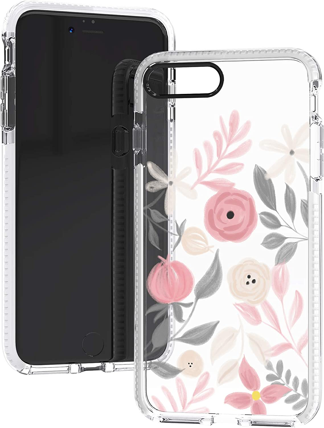 iPhone 7 Plus Case,iPhone 8 Plus Case,Painting Style Pink Grey Floral Flowers Roses Daisy Spring Trendy Hipster Girls Women Soft Protective Clear Case with Design Compatible for iPhone 7 Plus/8 Plus