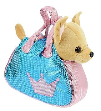 Bolso brillante azul y rosa con un perrito Chihuahua marron de peluche - 28cm Calidad Soft