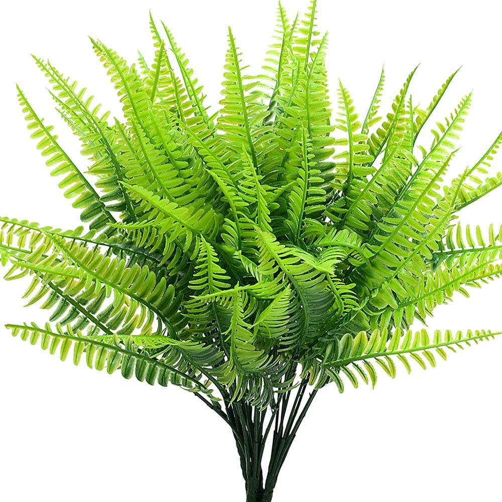 SzJias Artificial Ferns for Outdoors Indoors Faux Boston Ferns Artificial Plants Greenery Bushes Indoor Outside Home Garden Office Verandah Wedding Decor(Pack of 4)