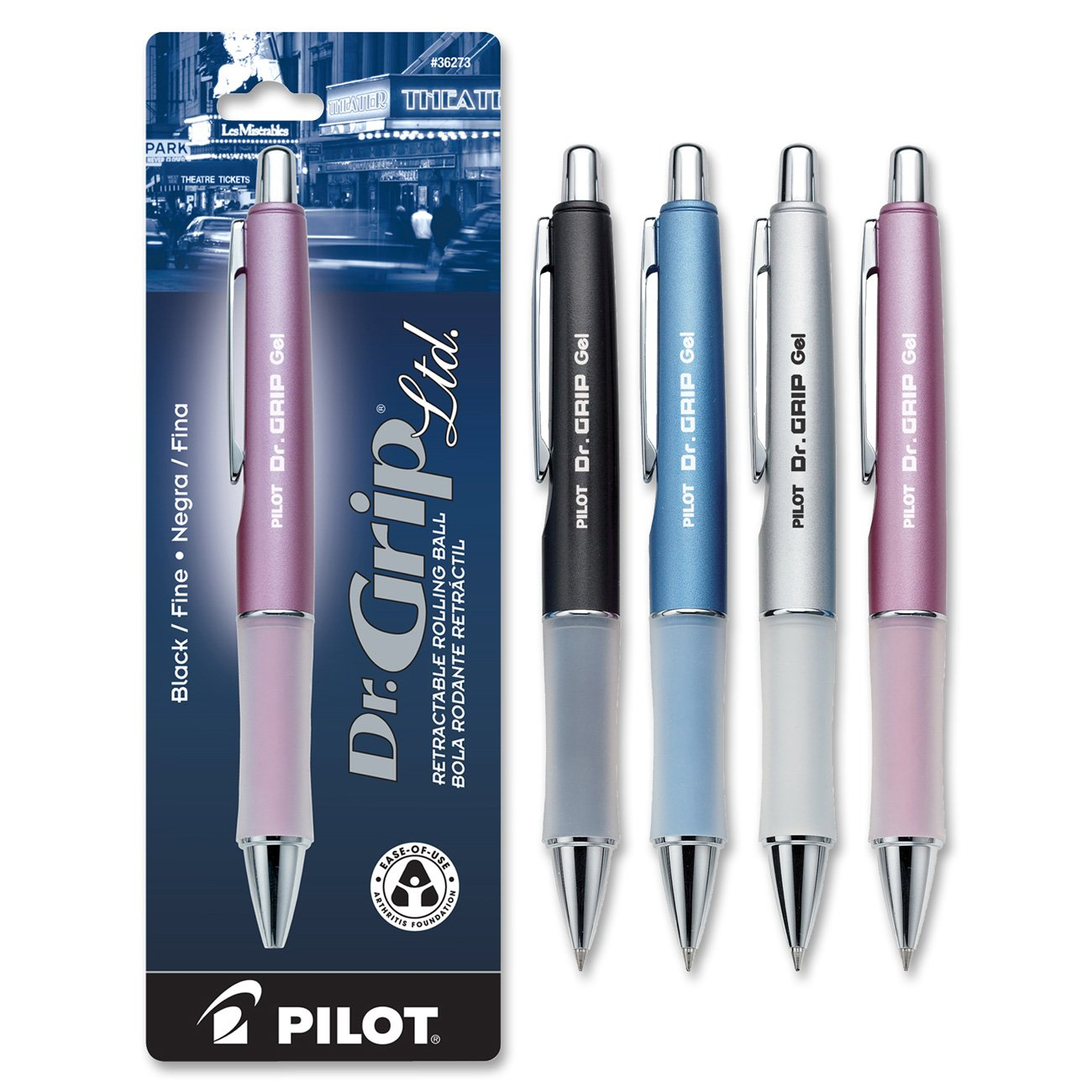 Pilot Dr. Grip Limited Retractable Rolling Ball Gel Pen, Fine Point, Barrel Color May Vary, Black Ink (36274)