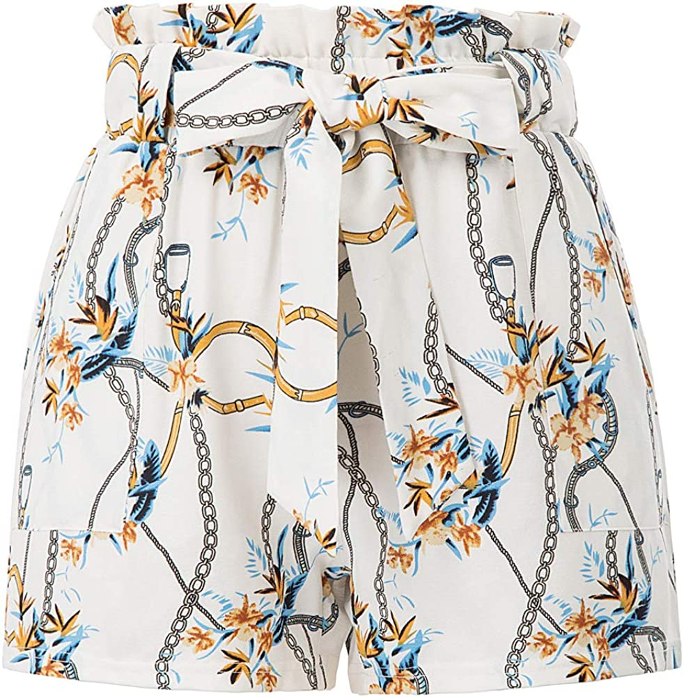 GRACE KARIN Womens Summer Floral Pattern Casual Elastic Waist Belt Decorated Shorts
