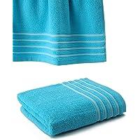 Drap De Bain 100x150 cm 100% Coton - 550 grS/m2 Turquoise avec Liserets Blanc
