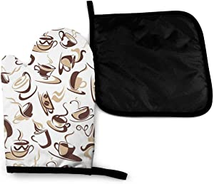 Lamefly Brown Coffee Cups with Beans Oven Mitts and Pot Holder Set Heat Resistant Cotton Hot Pad Non-Slip Microwave Gloves for Baking and Kitchen