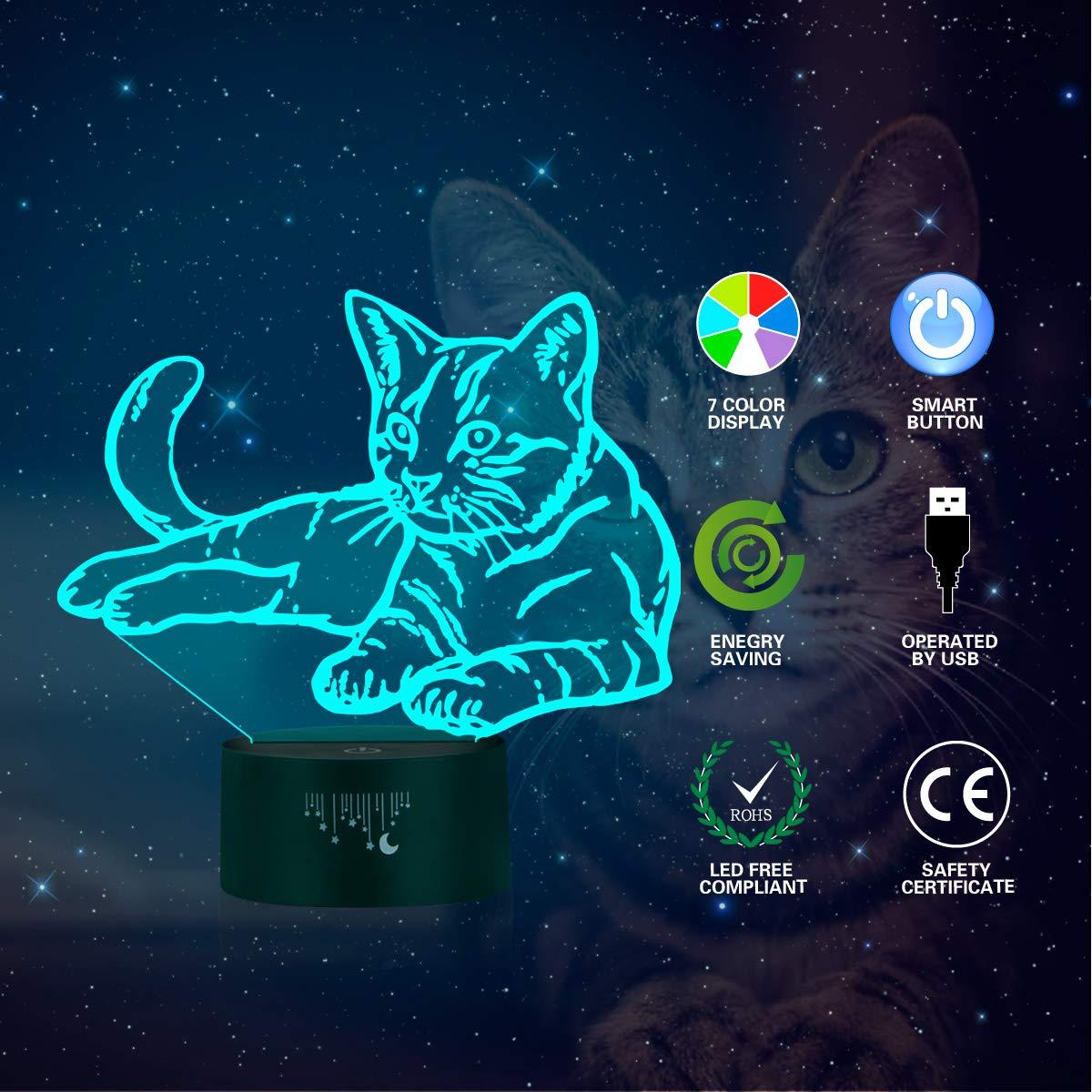 Acryl Flat Und ABS Base Und USB Kabel Katze Spielzeug 3D Schreibtischlampe K/ätzchen Nacht Nachtlicht Touch Schalter 7 Farbe 3D Optische Tischlampe Wohnzimmer Schlafzimmer 3D Dekorative Lichter