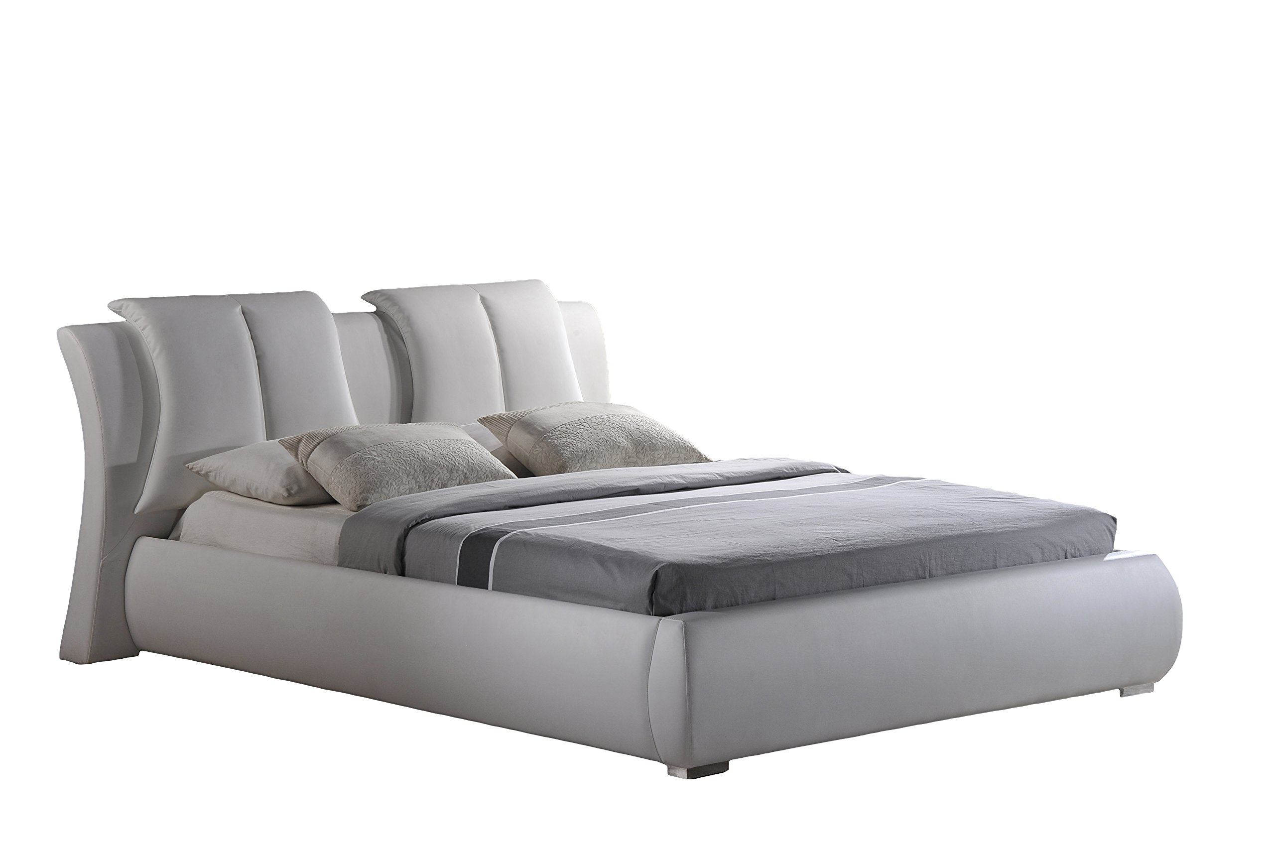 Global Furniture Upholstered Bed, Queen, White by Global Furniture USA