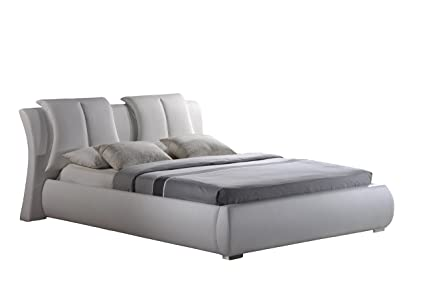 Amazon.com: Global Furniture Upholstered Bed, Queen, White: Kitchen ...