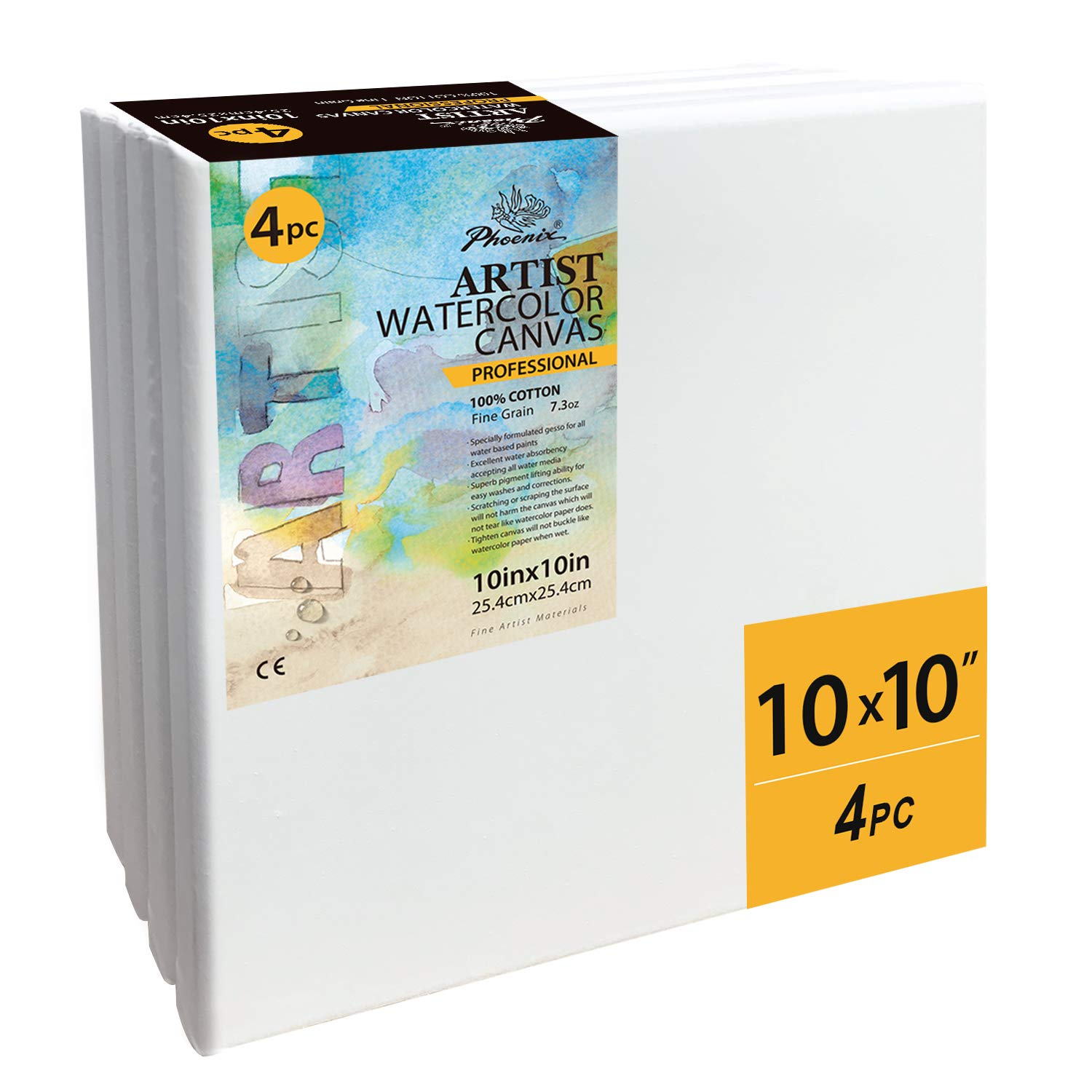 10x10 Inch//4 Pack 5//7 Inch Profile Professional Artist Painting Canvas for Water Soluble Paints PHOENIX Stretched Watercolor Canvas